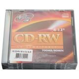 Диски CD-RW VS, 700 Mb, 4-12x, Slim Case, комплект 5 шт.