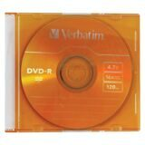 Диск DVD-R (минус) VERBATIM, 4,7 Gb, 16x, Colour Slim Case